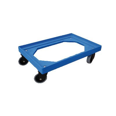 600x400mm and 400x300mm rolling base for trays. Blue colour.