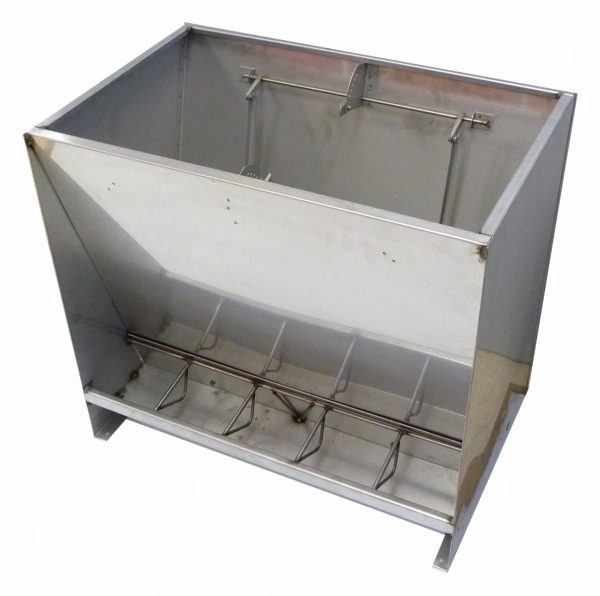 Stainless steel double feeder, 5 feeding spaces