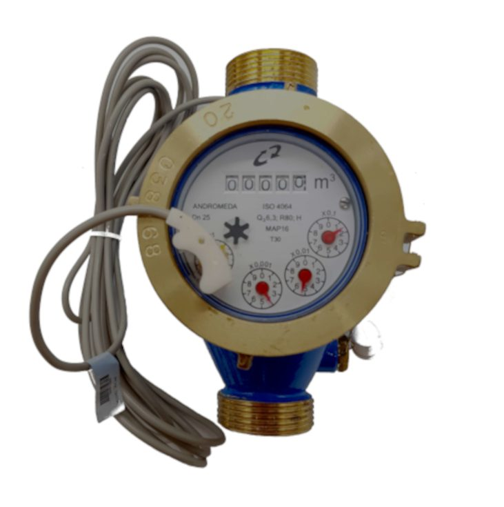 """4-pulses/litre water meter, 1"""" dry sphere for water up to 90ºC"""