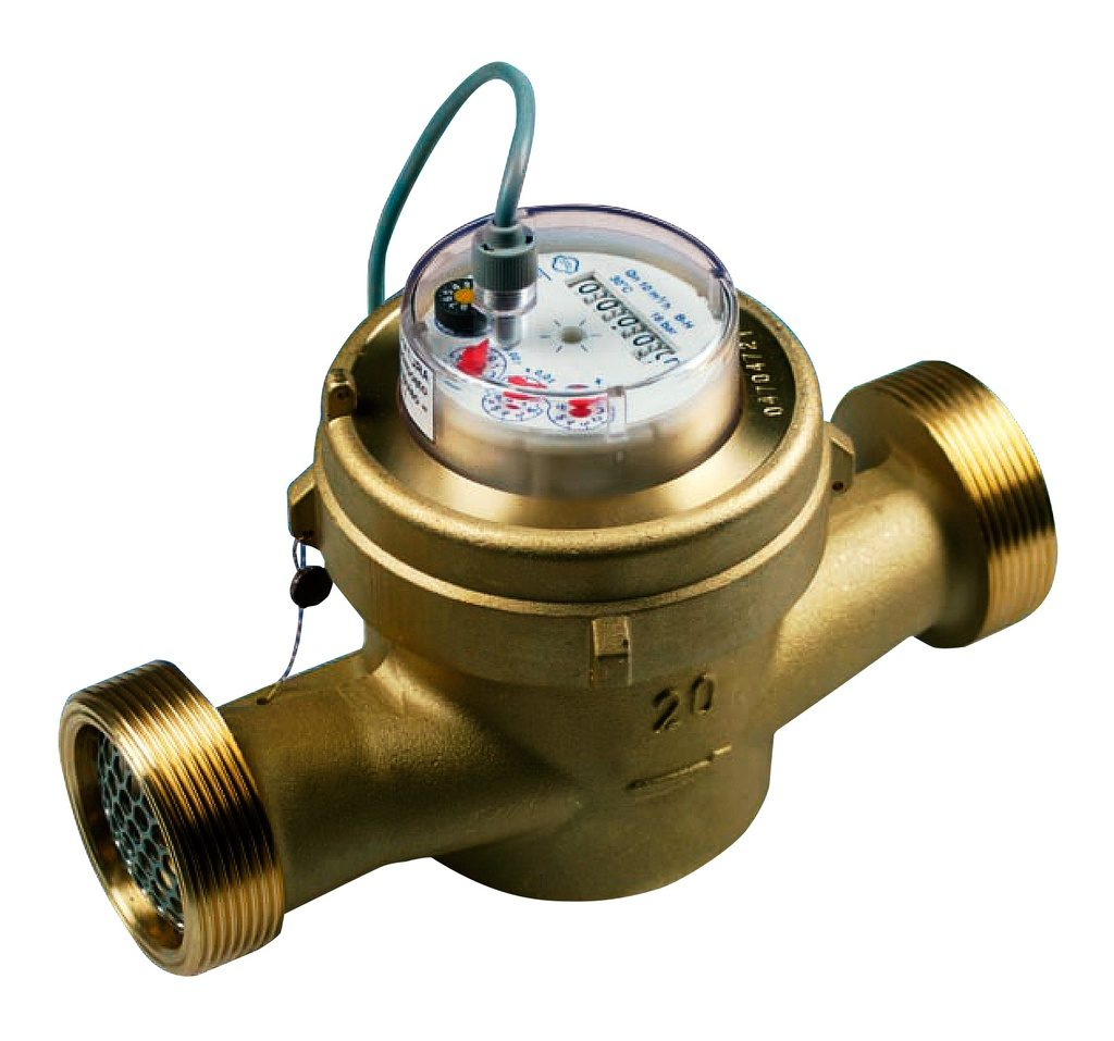 """4-pulses/litre water meter, 1"""" 1/2 dry sphere for water up to 90ºC"""