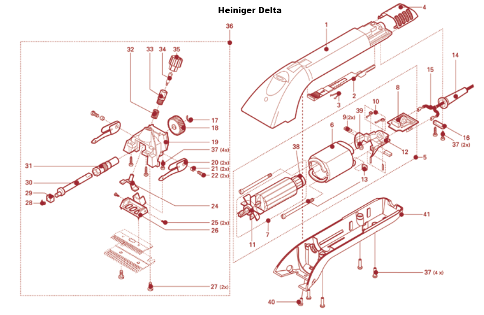 11, 17 & 28: Spare for Heiniger Delta/Xpert Clipper and for XTRA clipper motor
