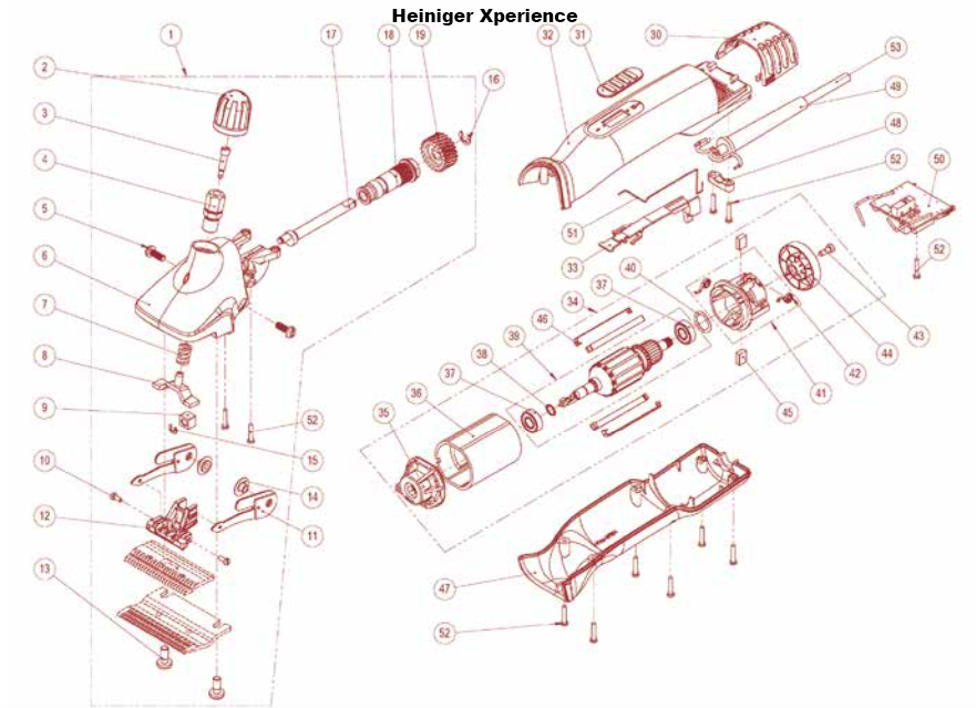 46  46: Suppor per motore X-series tosatrice Heiniger Xpert/Xperience