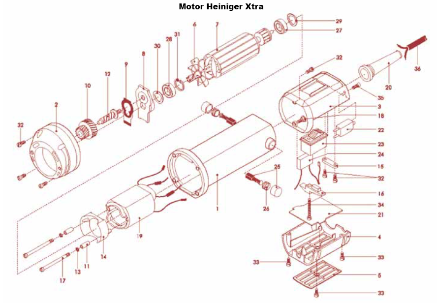 36: Replacement for Heiniger XTRA clipper motor